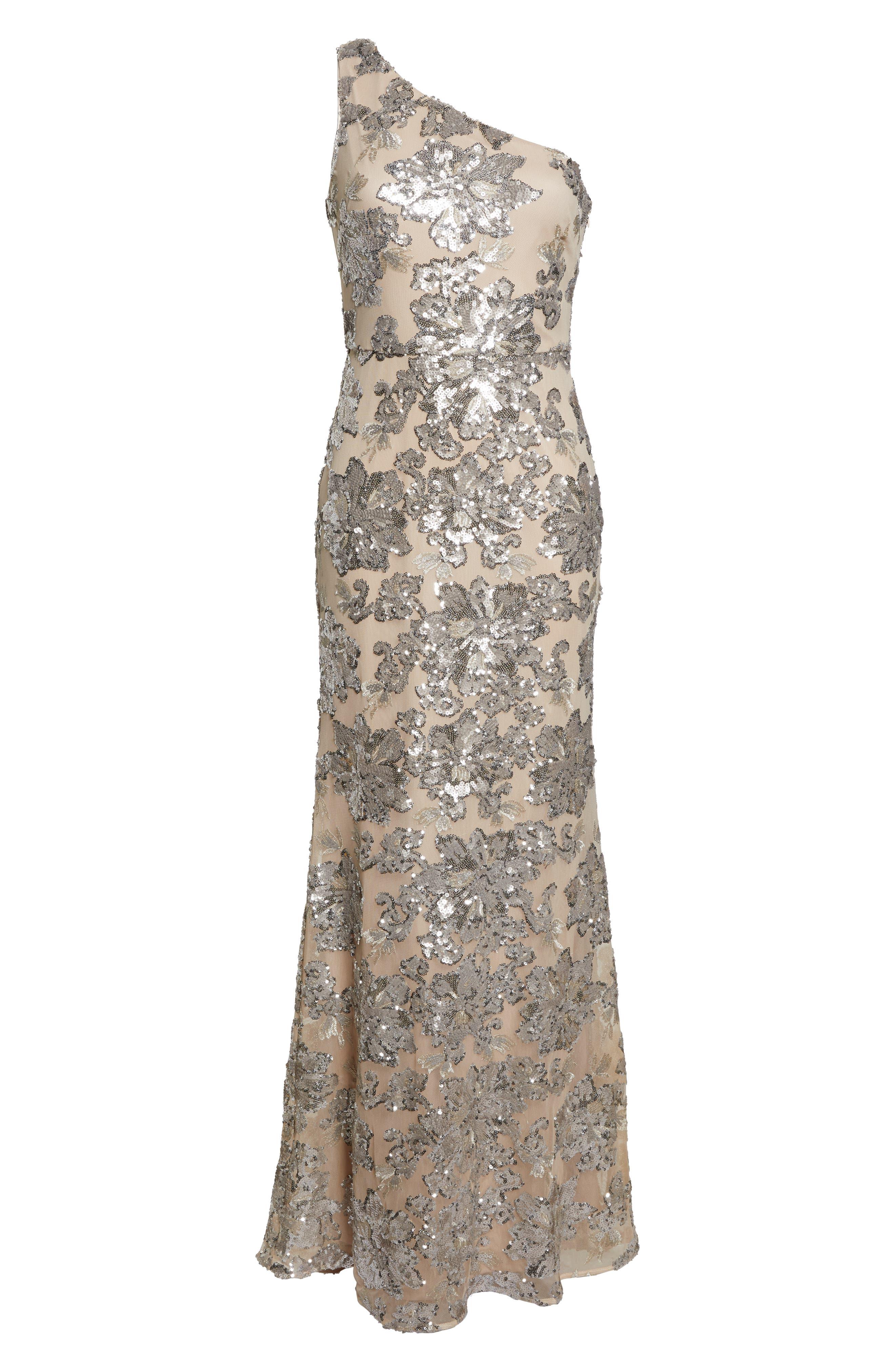 ,                             One-Shoulder Sequin Chiffon Evening Dress,                             Alternate thumbnail 7, color,                             SILVER