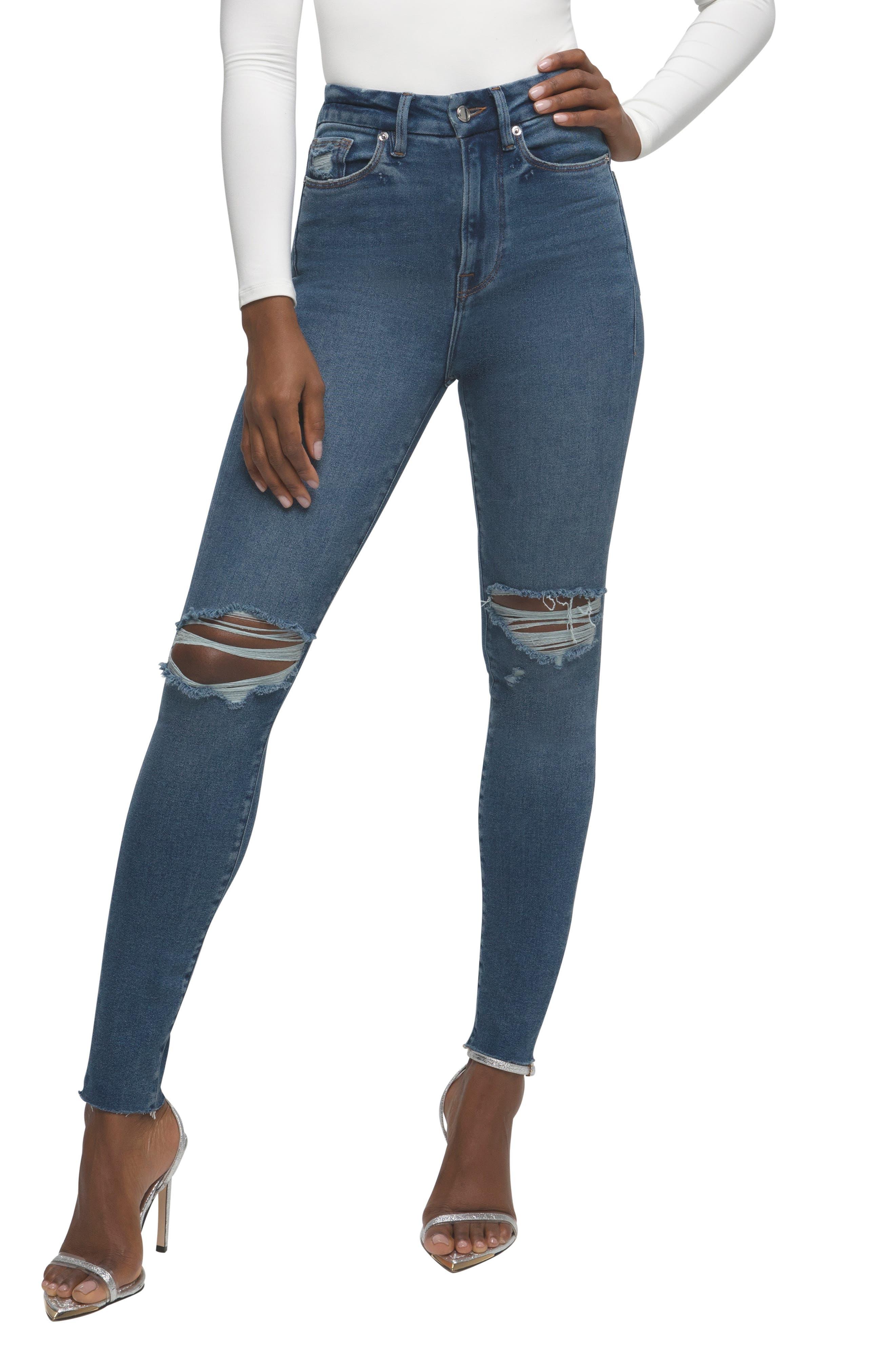 Women's Good American Good Waist Crop Raw Edge Skinny Jeans