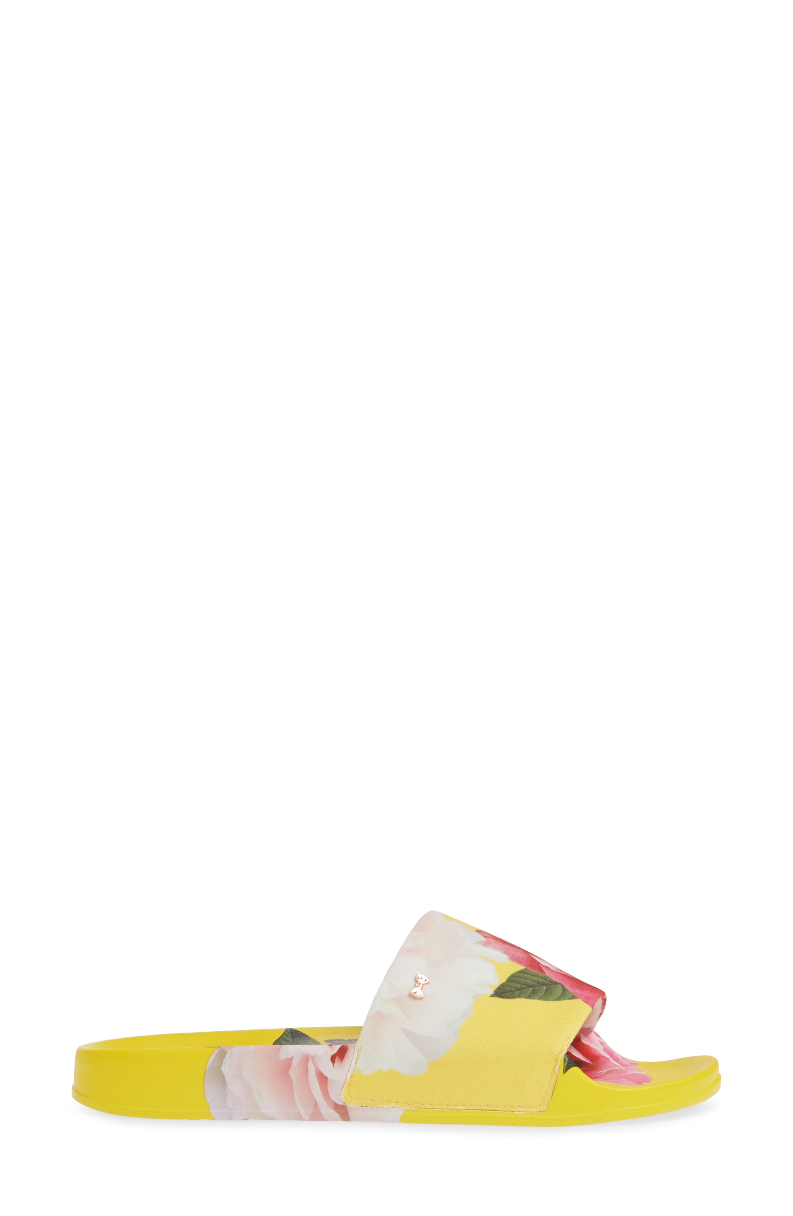,                             Avelini Slide Sandal,                             Alternate thumbnail 3, color,                             MAGNIFICENT YELLOW SATIN