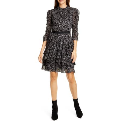 Rebecca Taylor Celia Silk Chiffon Dress, Black