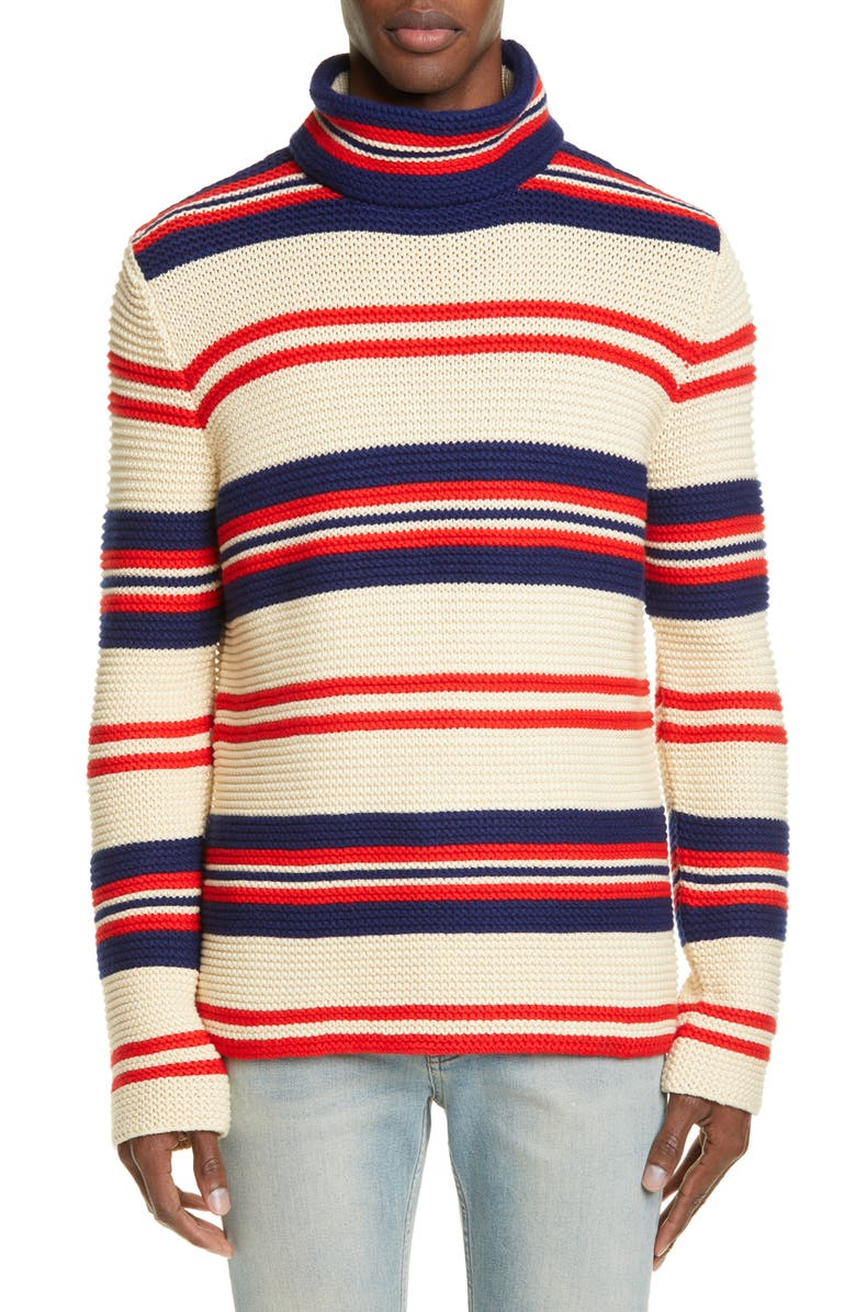 Gucci Stripe Mock Neck Cotton Wool Sweater