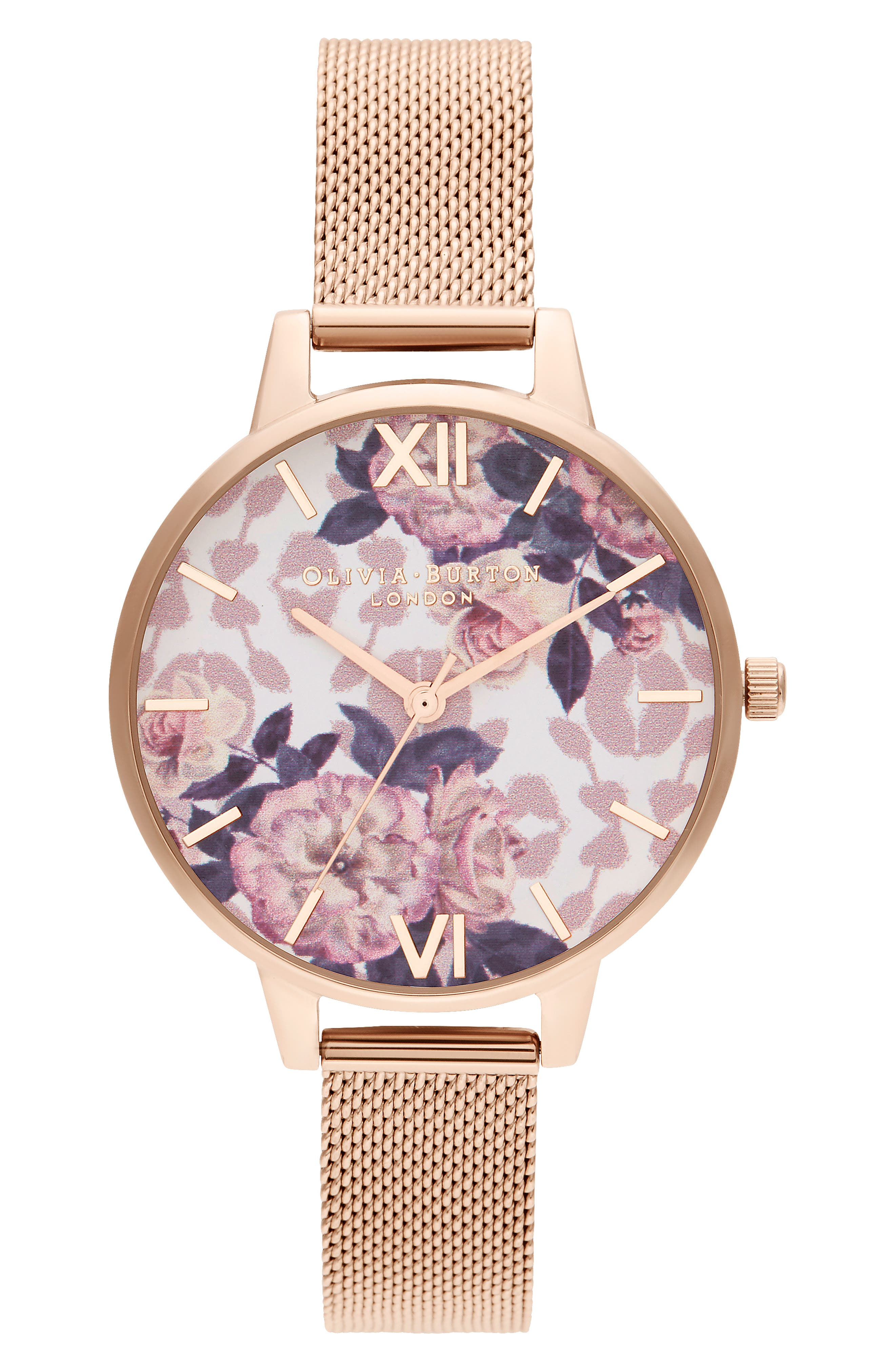 Image of OLIVIA BURTON Women's Wildflower Mesh Strap Watch, 34mm
