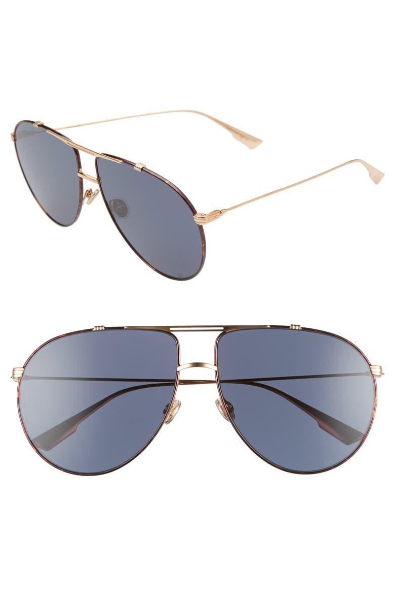 DIOR Christian Dior Monsieur 63mm Oversize Aviator Sunglasses, Main, color, GOLD HAVANA/ BLUE