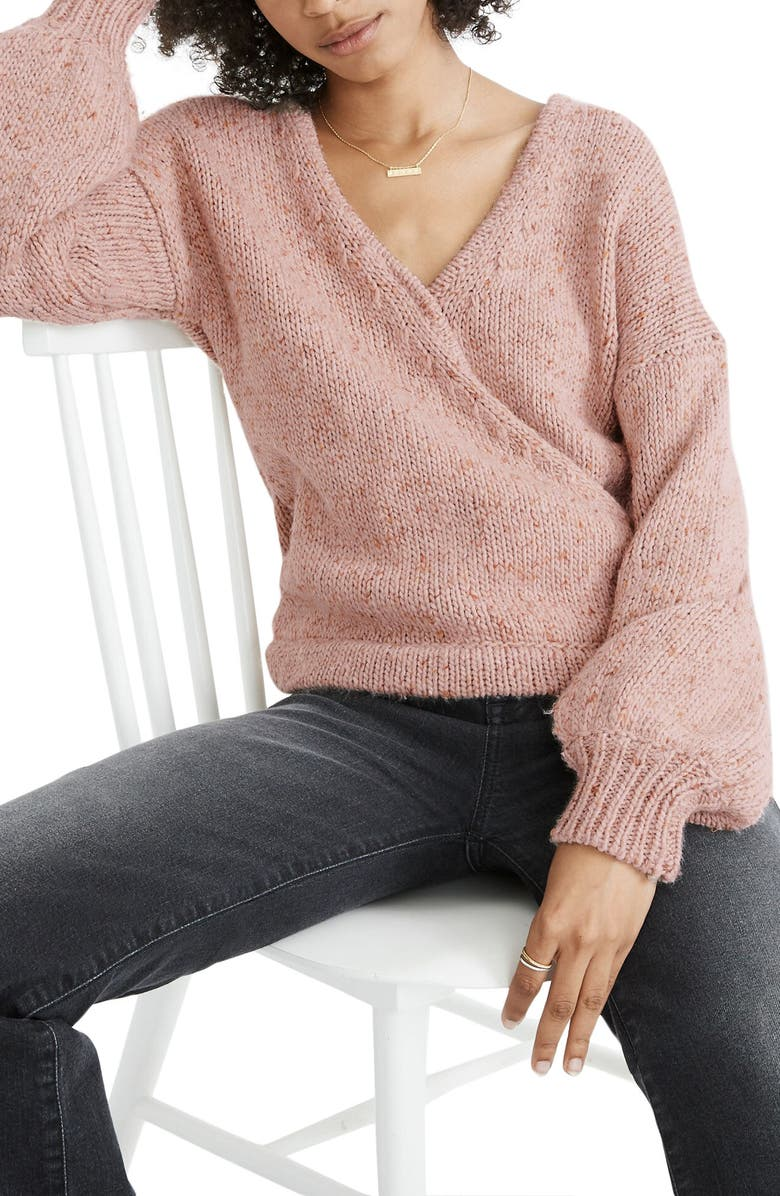 MADEWELL Beresford Wrap-Front Pullover Sweater, Main, color, MARLED WISTERIA