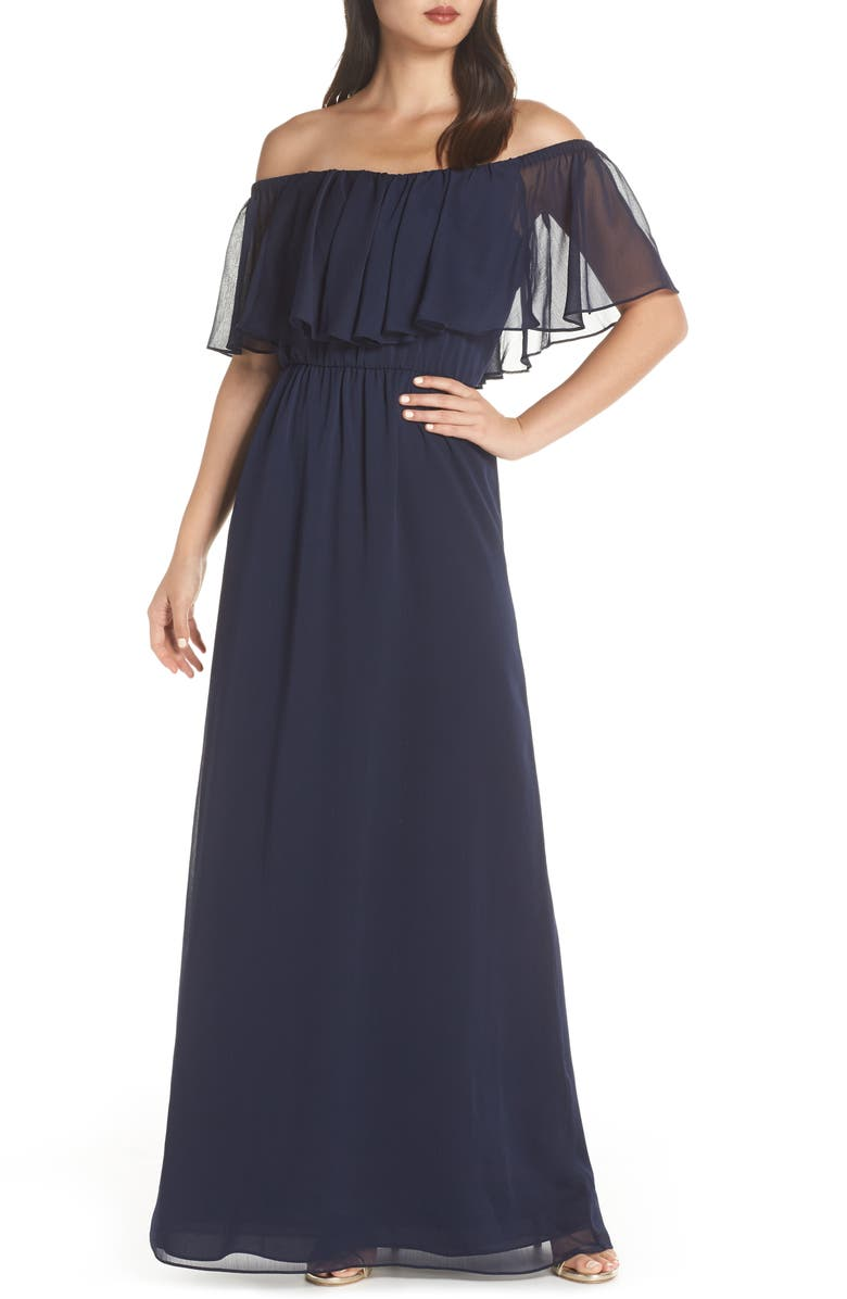 WAYF Off the Shoulder Ruffle Popover Gown, Main, color, 410