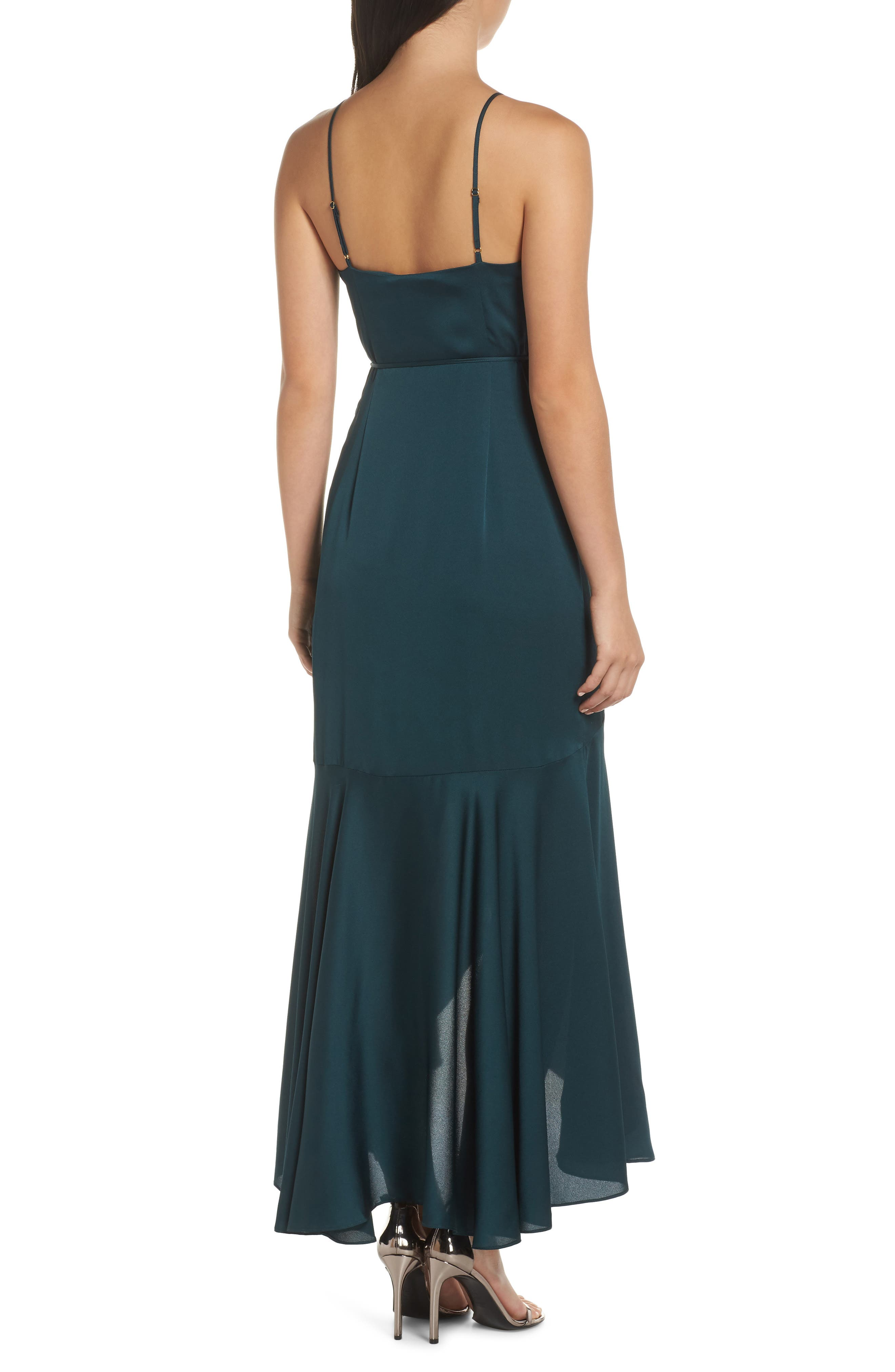 ,                             Luxe Ruffle Trim Wrap Gown,                             Alternate thumbnail 2, color,                             EMERALD