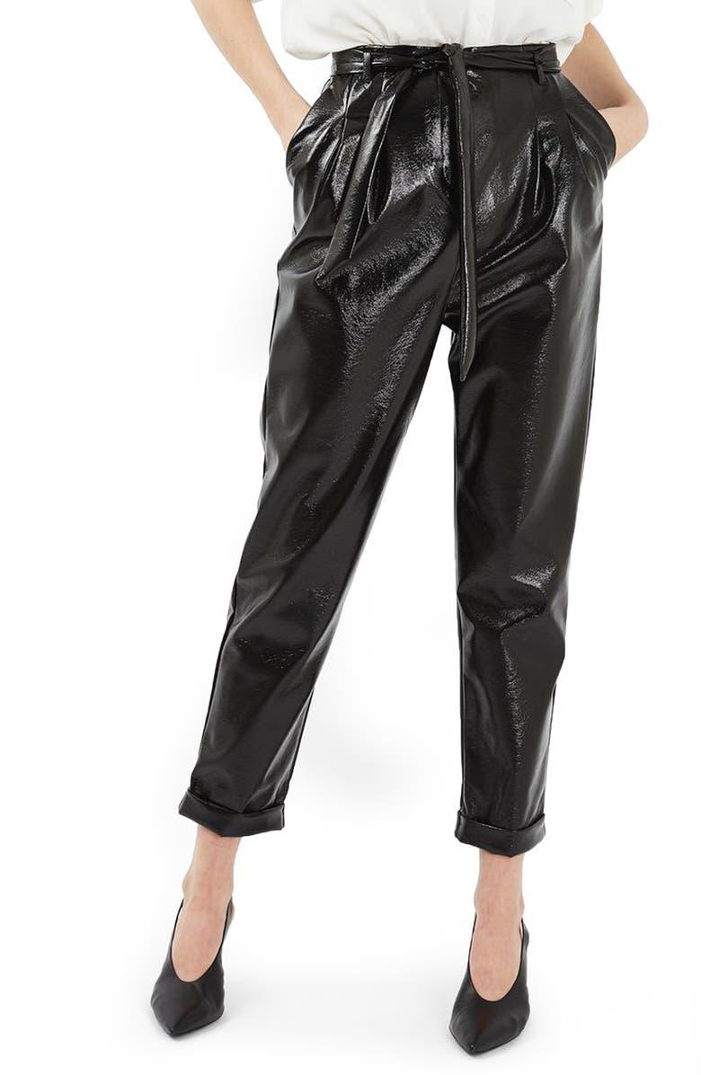 TOPSHOP Crackled Vinyl Peg Trousers, Main, color, 001