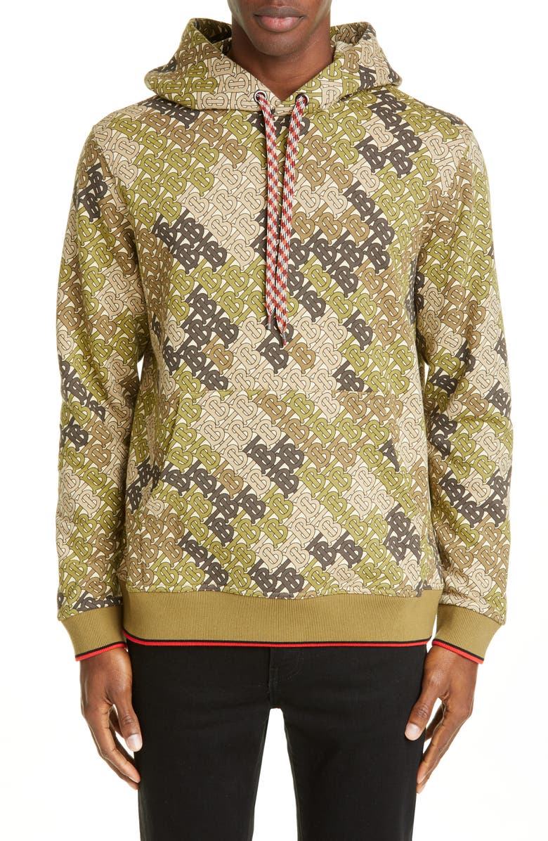 BURBERRY Casper TB Monogram Hooded Sweatshirt, Main, color, KHAKI GREEN