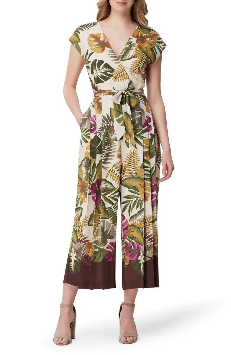 TAHARI Tropical Print Crop Wide Leg Jumpsuit, Main, color, 294