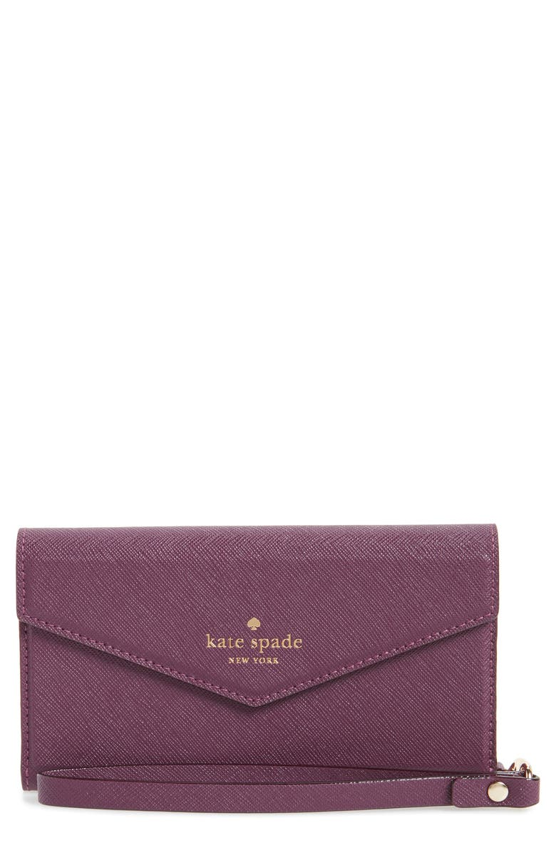 KATE SPADE NEW YORK iPhone 7/8 & 7/8 Plus leather wristlet, Main, color, 595