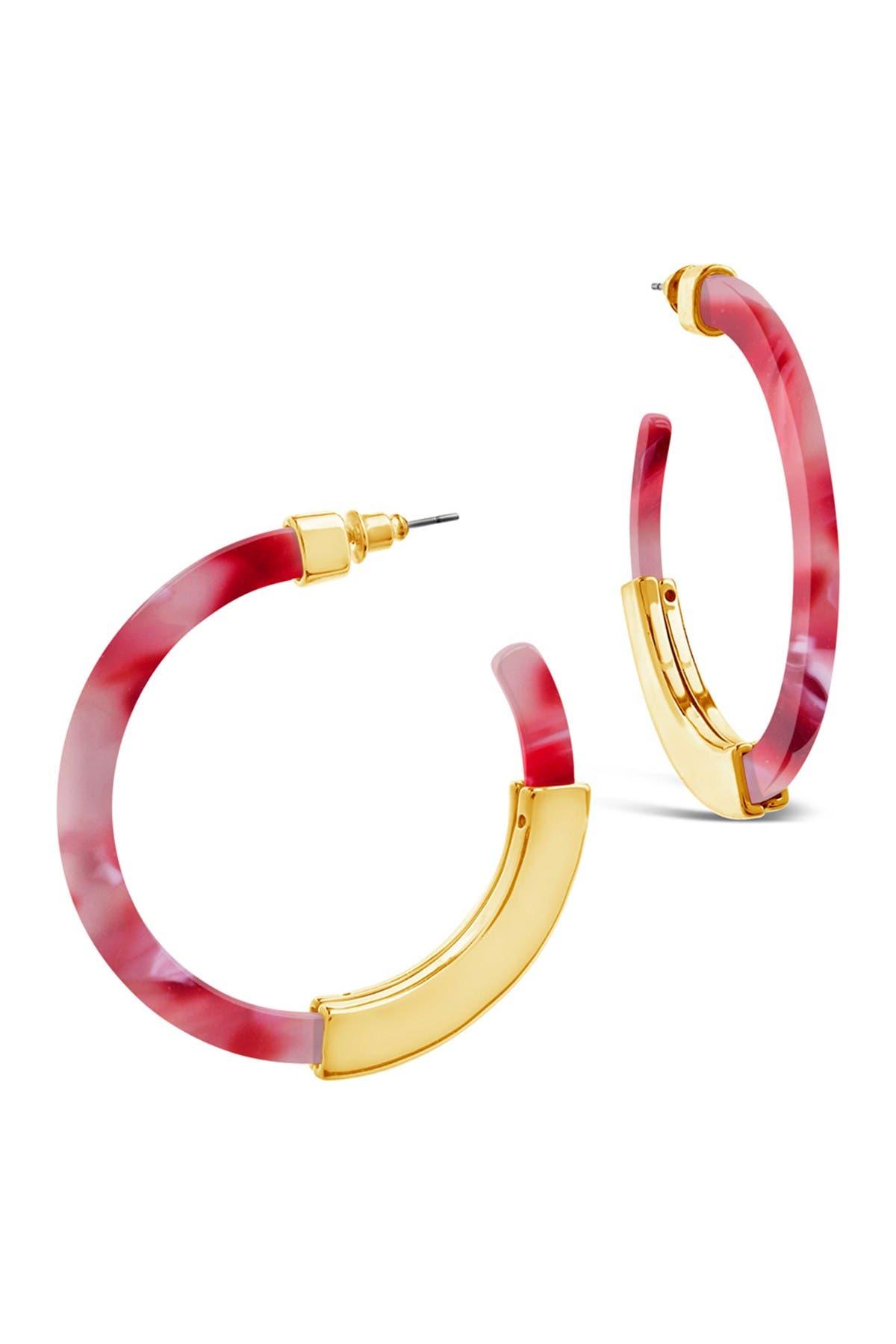 Sterling Forever Acetate Resin Bar 50mm Hoop Earrings