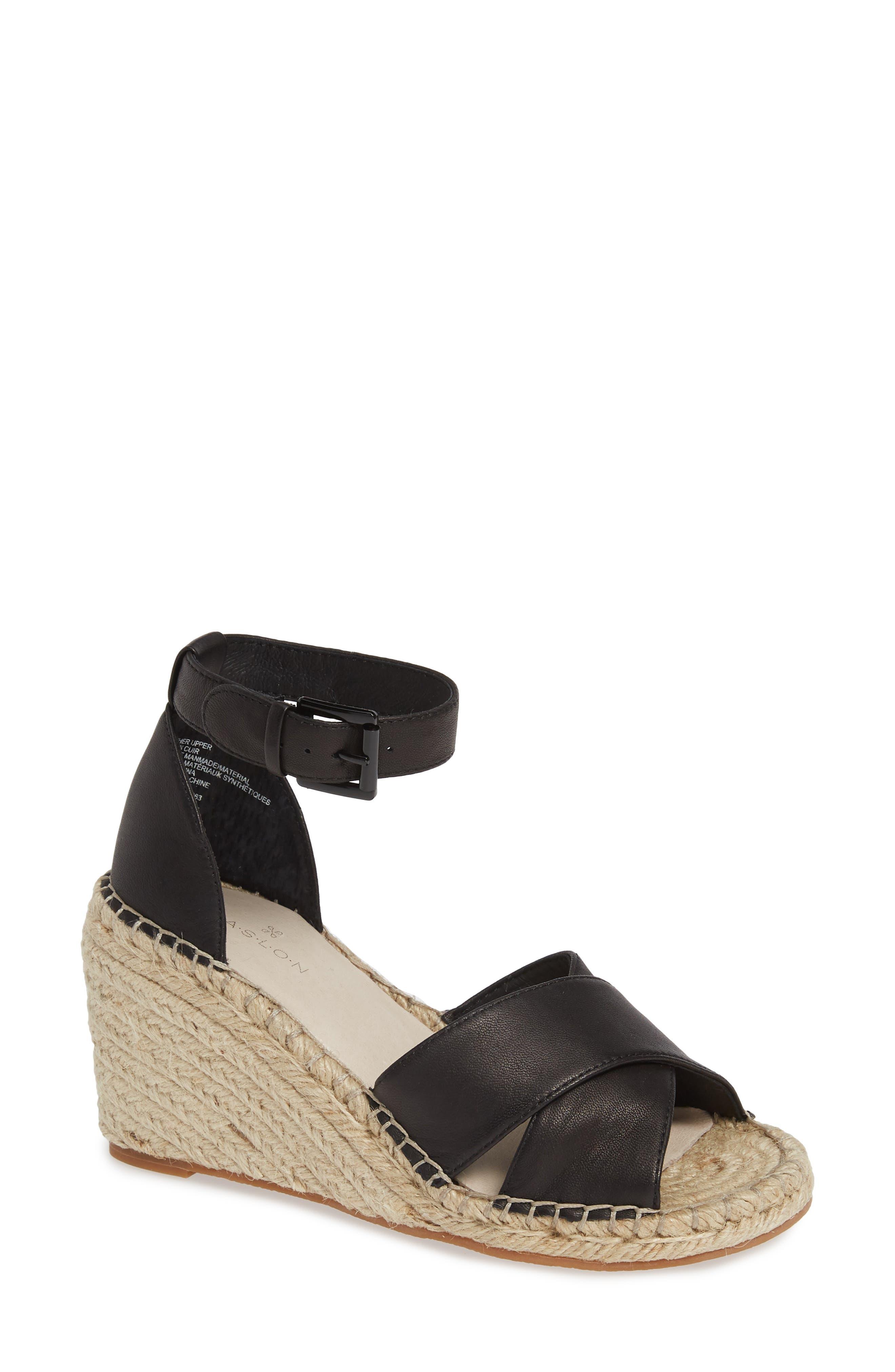 Shiloh Espadrille Sandal, Main, color, BLACK LEATHER