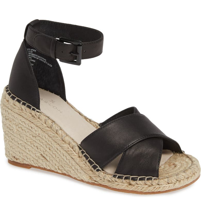 CASLON<SUP>®</SUP> Shiloh Espadrille Sandal, Main, color, BLACK LEATHER