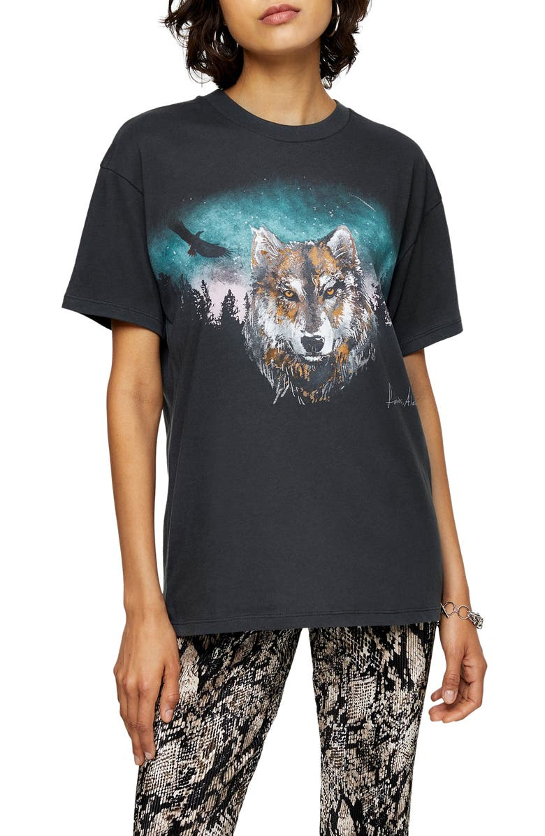 TOPSHOP Night Wolf Tee, Main, color, CHARCOAL