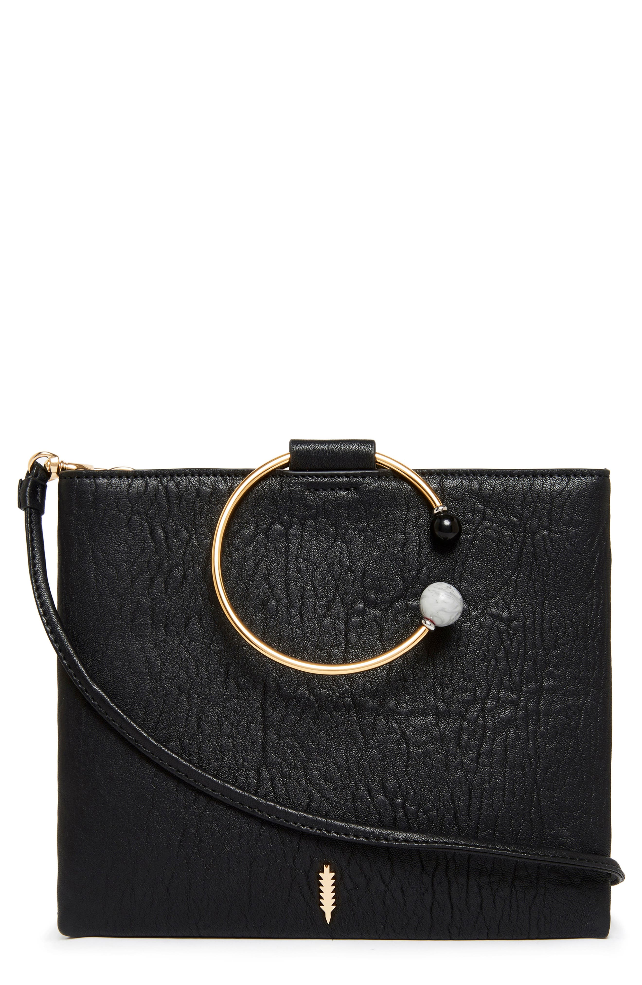 Image of THACKER Le Pouch Leather Beaded Ring Shoulder Bag