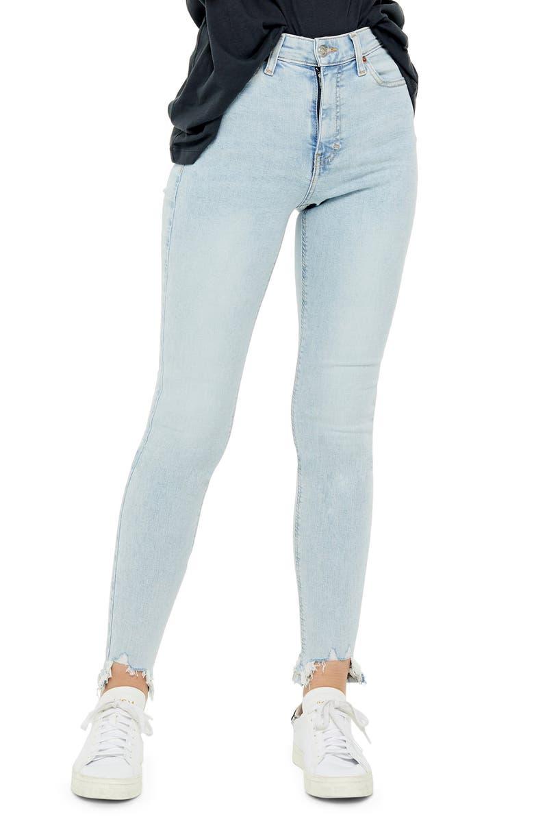 TOPSHOP Jamie Jagged Hem High Waist Jeans, Main, color, BLEACH