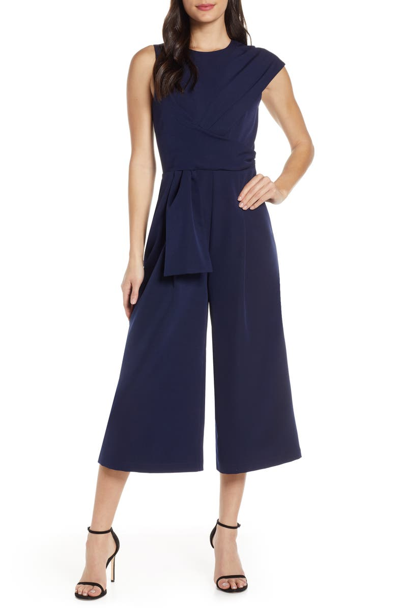 HARLYN Tie Cropped Jumpsuit, Main, color, NAVY