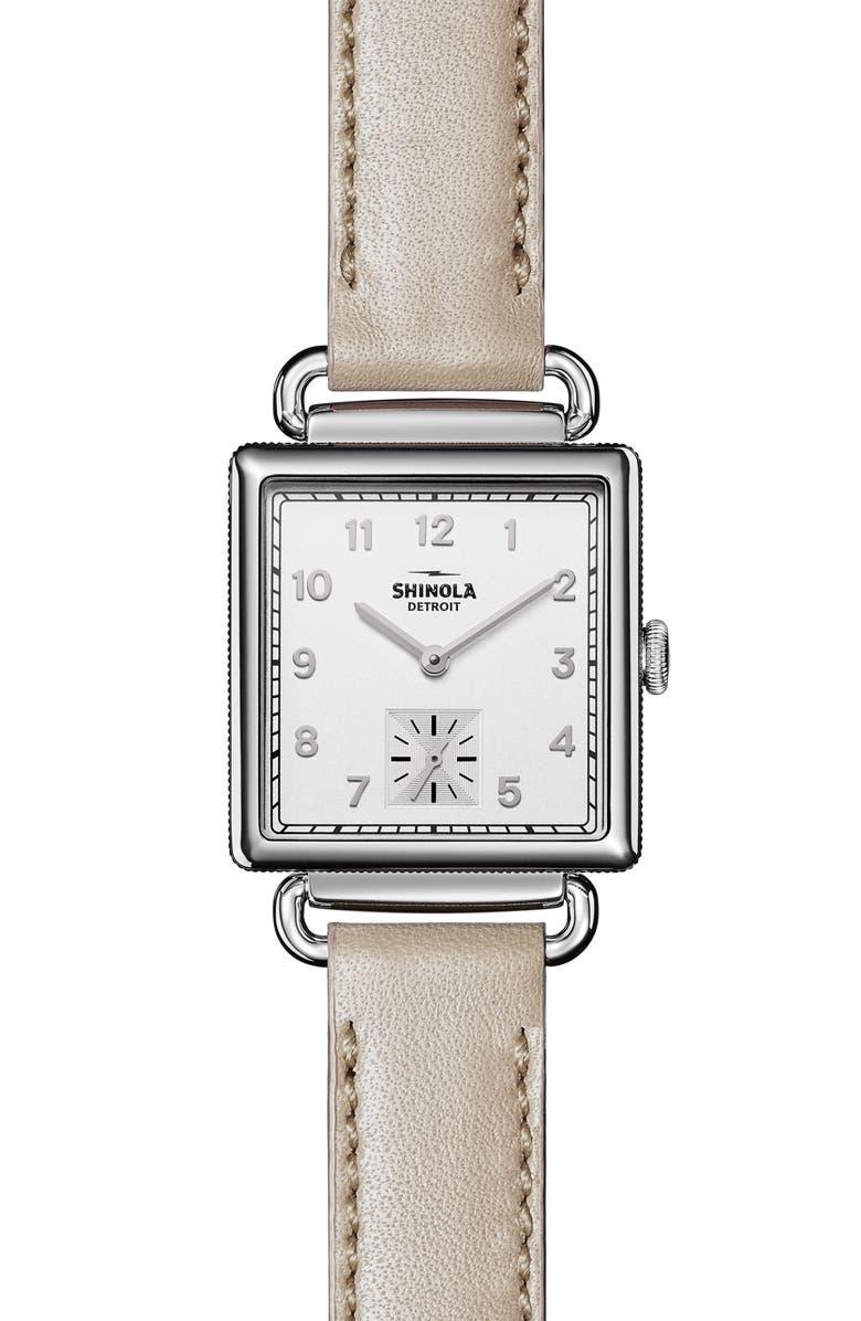 SHINOLA Cass Leather Strap Watch, 28mm, Main, color, BONE/WHITE OPALINE/ SILVER