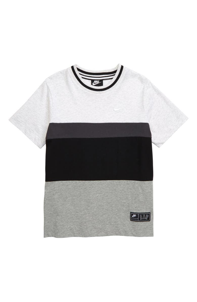 NIKE Air Colorblock T-Shirt, Main, color, BIRCH HEATHER/ BLACK
