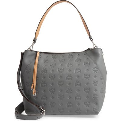 Mcm Medium Klara Monogram Leather Hobo - Grey