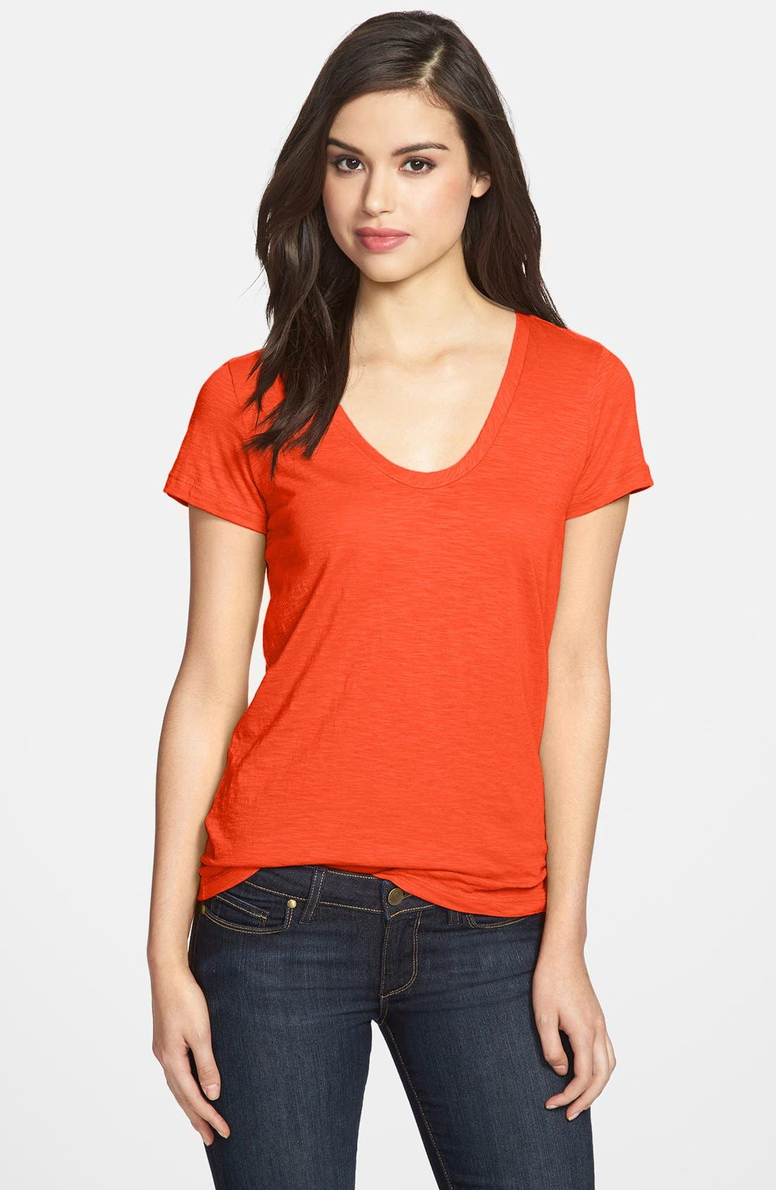 ,                             Relaxed Slub Knit U-Neck Tee,                             Main thumbnail 362, color,                             600
