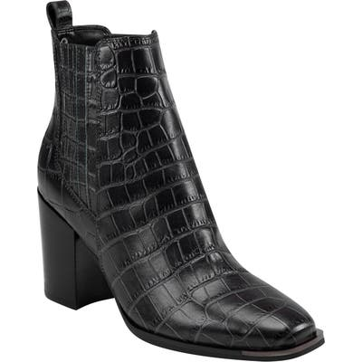 Marc Fisher Ltd Taline Croc-Embossed Square Toe Boot, Grey