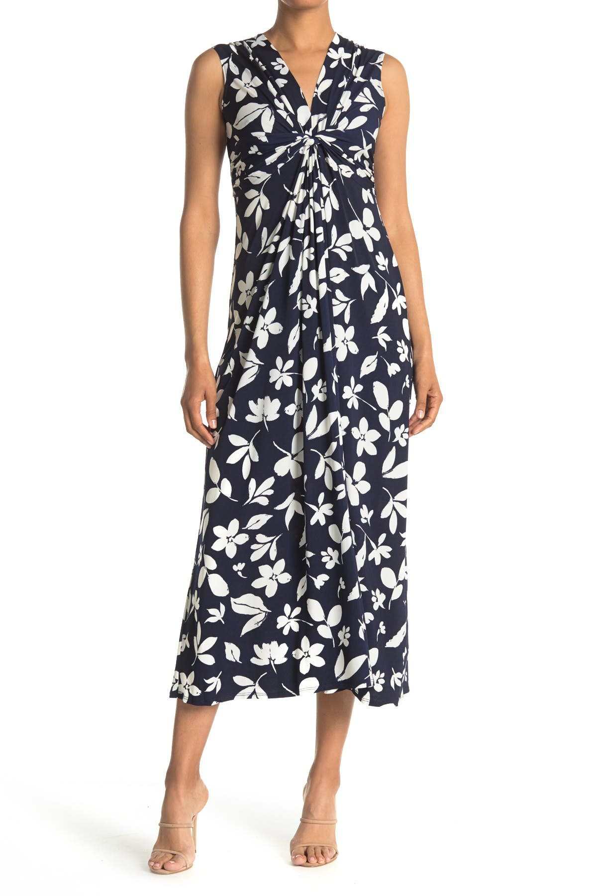Image of Eliza J Twist Front Floral Printed Maxi Dress