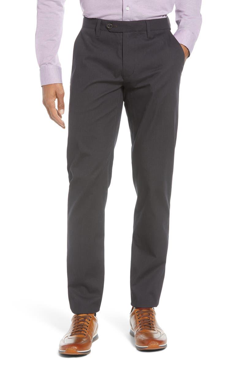 TED BAKER LONDON Sammual Slim Fit Textured Dress Pants, Main, color, CHARCOAL