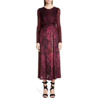Fuzzi Snake Print Long Sleeve Midi Dress, Burgundy