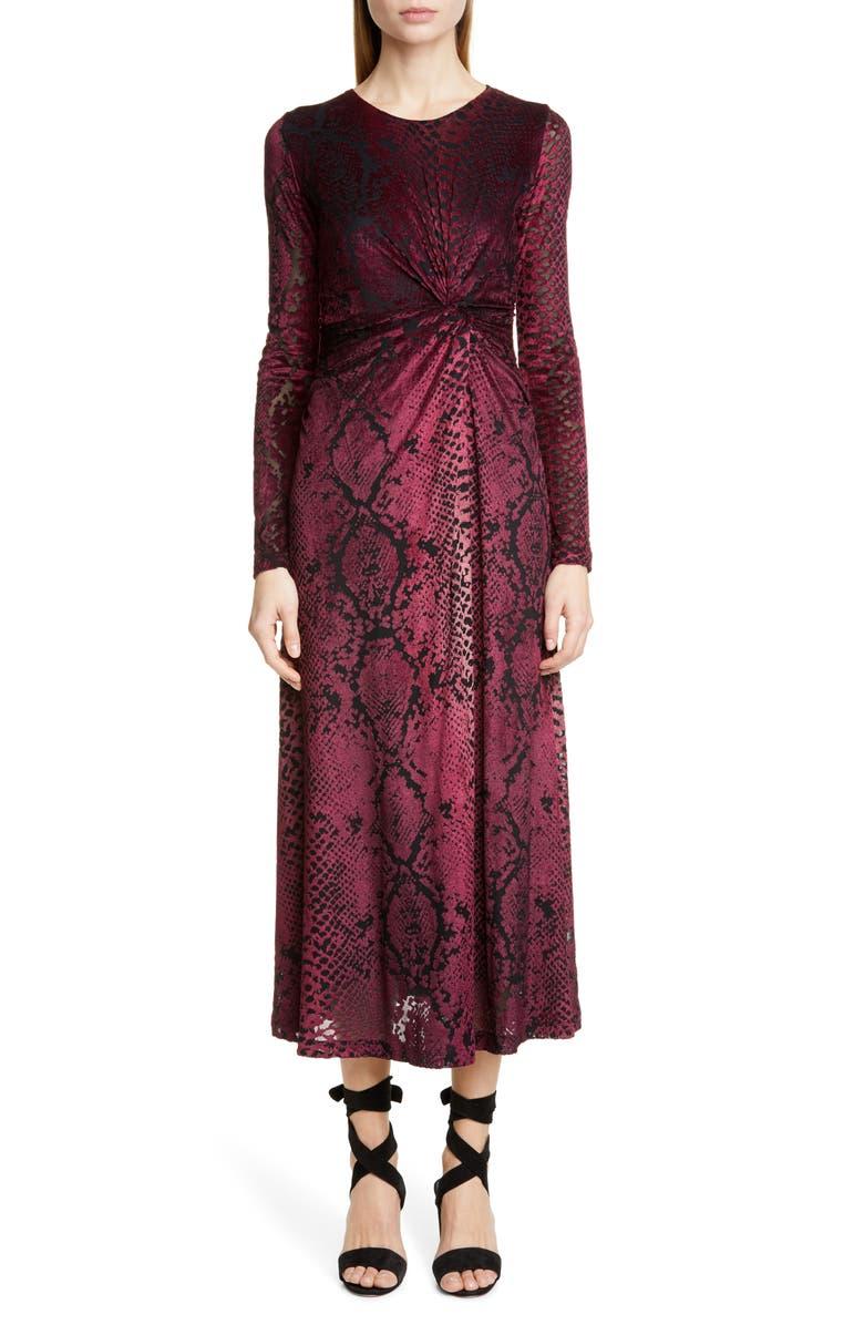FUZZI Snake Print Long Sleeve Midi Dress, Main, color, 930