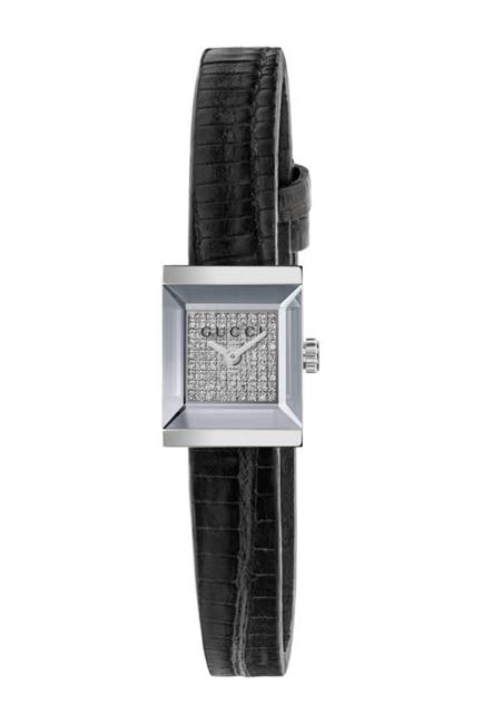 Image of GUCCI Women's Diamond Pave G-Frame Lizard Embossed Leather Strap Watch, 14x18mm - 0.228 ctw