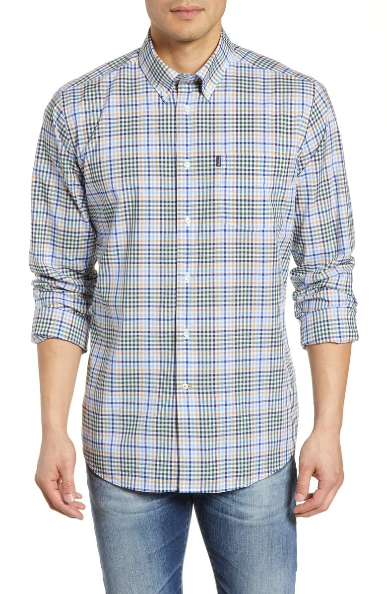 BARBOUR Tailored Fit Tattersall Check Sport Shirt, Main, color, 401
