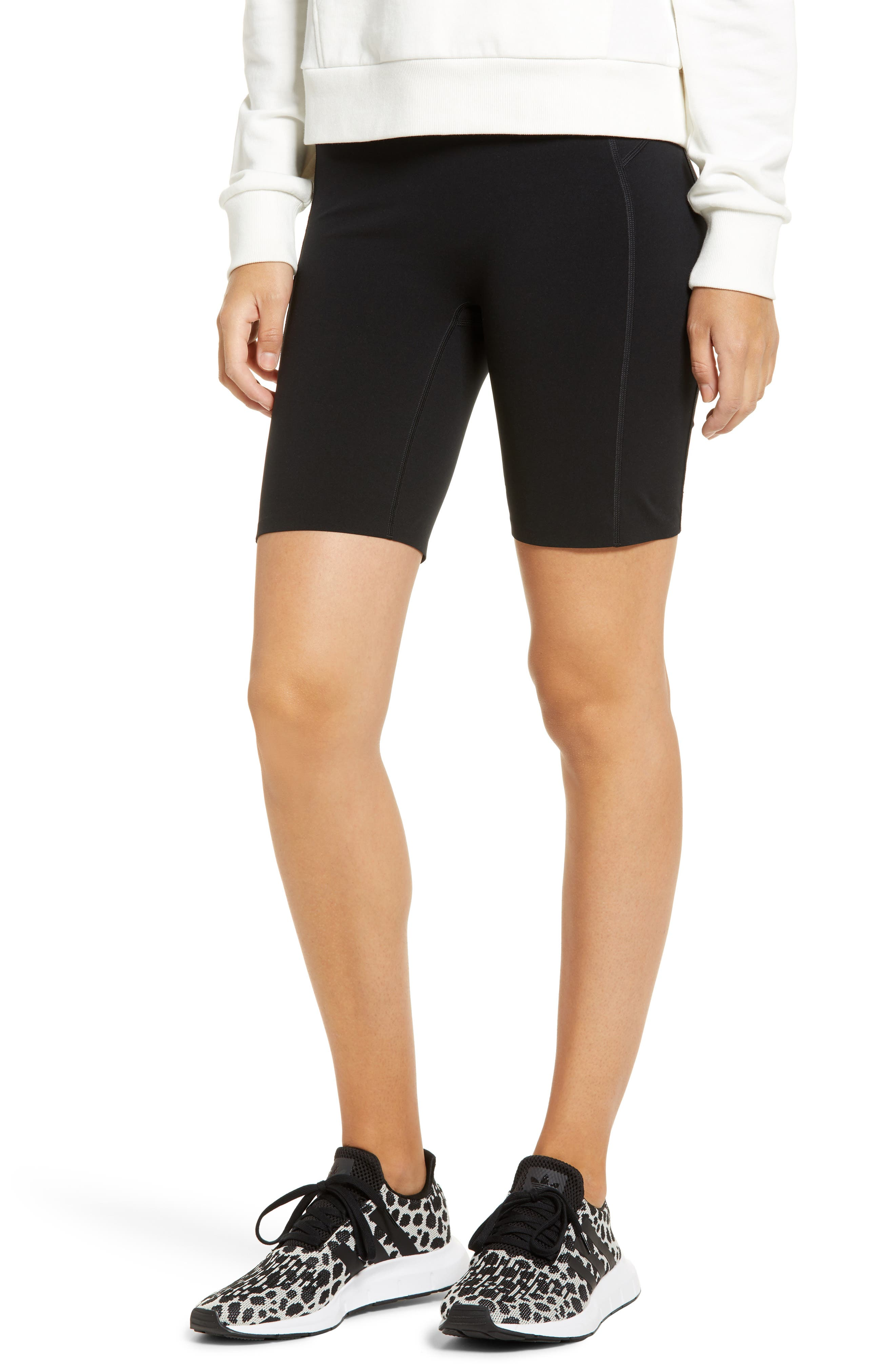 Look like you hit the gym before you even head out the door in sweat-wicking bike shorts that provide comfortable tummy control and support. The four-way-stretch performance fabric has anti-odor technology that makes them perfect for any activity, while built-in pockets are great for holding your keys, card and phone. Style Name: Spanx Every. wear Active Bike Shorts (Plus Size). Style Number: 6062199. Available in stores.