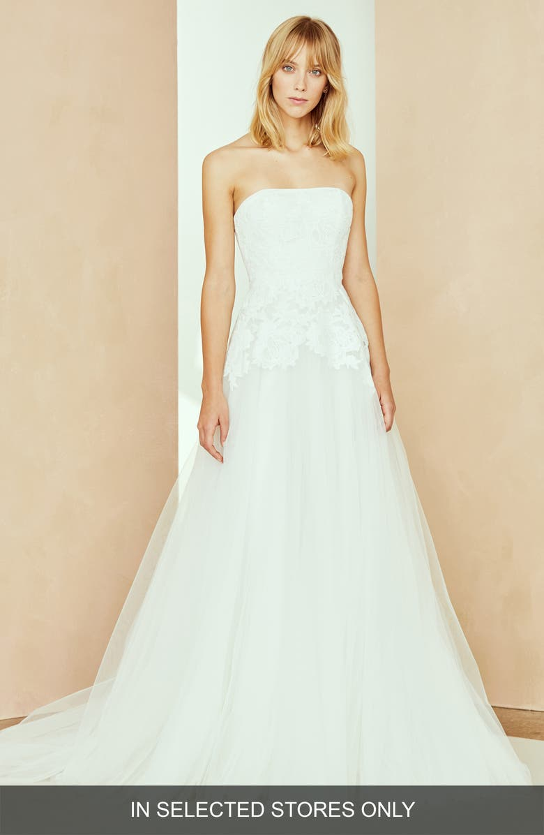 NOUVELLE AMSALE Danica Strapless Lace & Tulle Ballgown, Main, color, IVORY