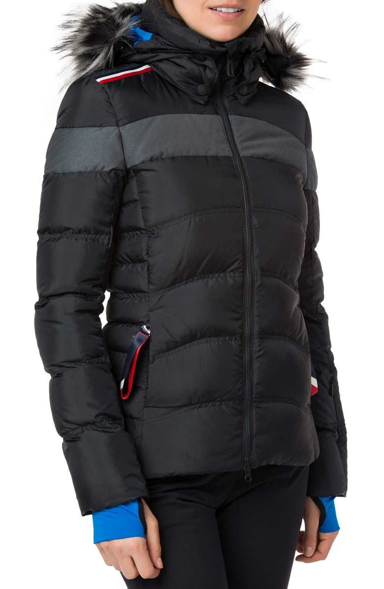 ROSSIGNOL Hiver Tailored Fit Waterproof 750-Fill-Power Down Jacket with Faux Fur Trim, Main, color, 001