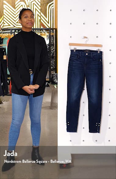 High Waist Imitation Pearl Cuff Detail Ankle Skinny Jeans, sales video thumbnail