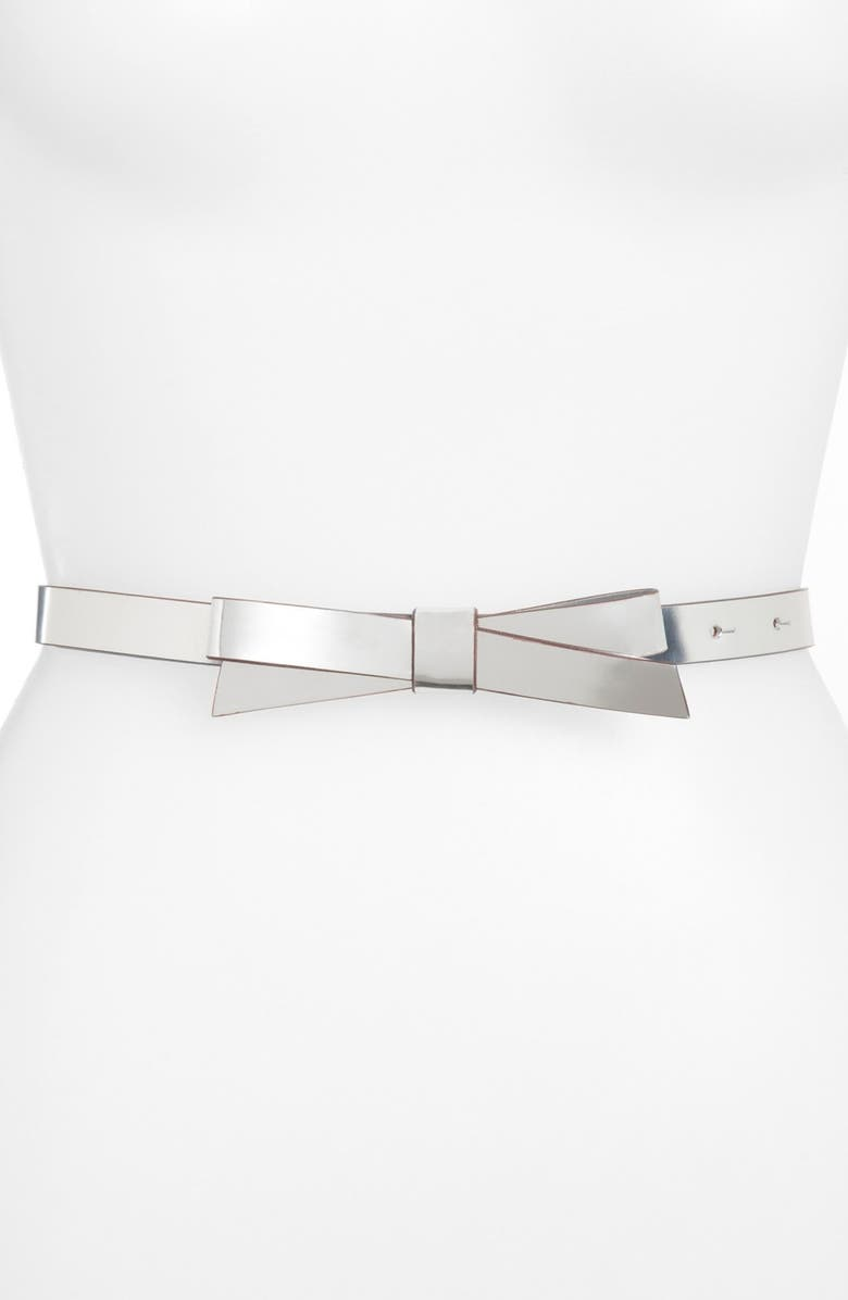 KATE SPADE NEW YORK 'bow' metallic leather belt, Main, color, 040