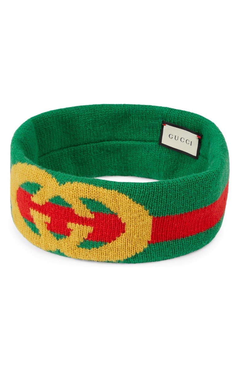 GUCCI GG Lock Web Headband, Main, color, FLAME/ LIGHT GREEN