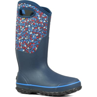 Bogs Classic Tall Freckle Insulated Waterproof Rain Boot, Blue