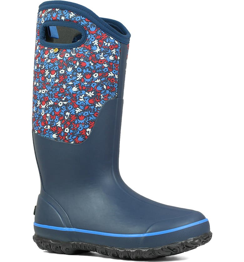 BOGS Classic Tall Freckle Insulated Waterproof Rain Boot, Main, color, BLUE MULTI RUBBER