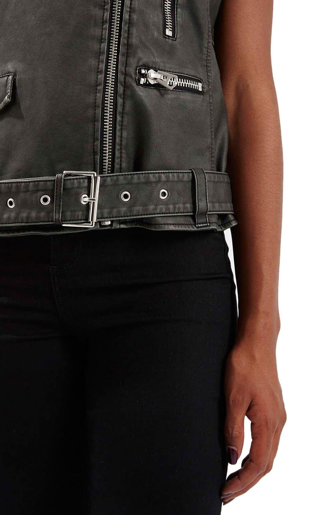 ,                             'Sylvia'Faux Leather Moto Vest,                             Alternate thumbnail 5, color,                             001