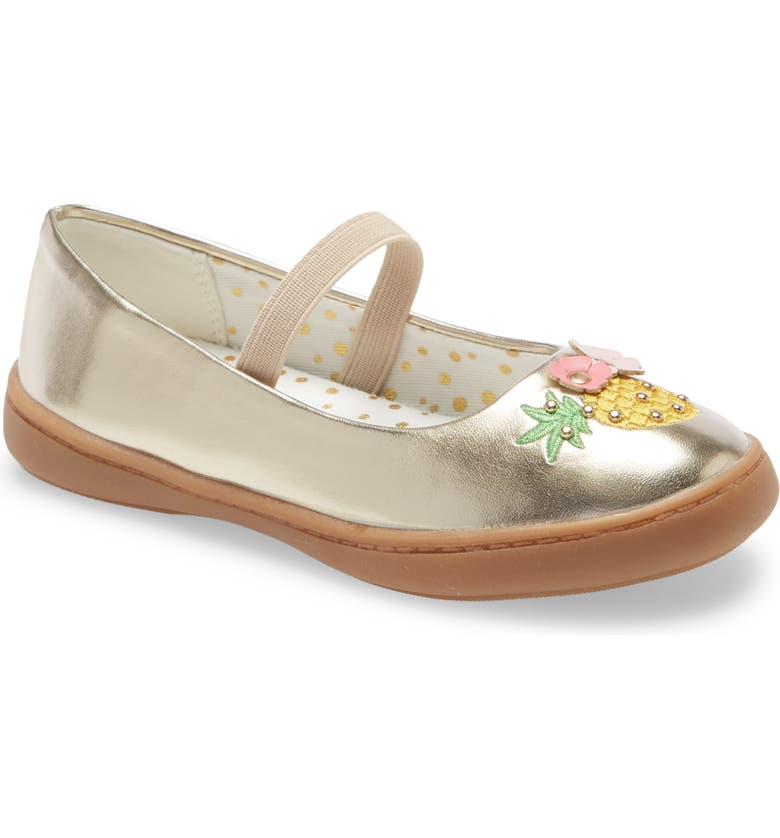 TUCKER + TATE Metallic Mary Jane Flat, Main, color, GOLD FAUX LEATHER