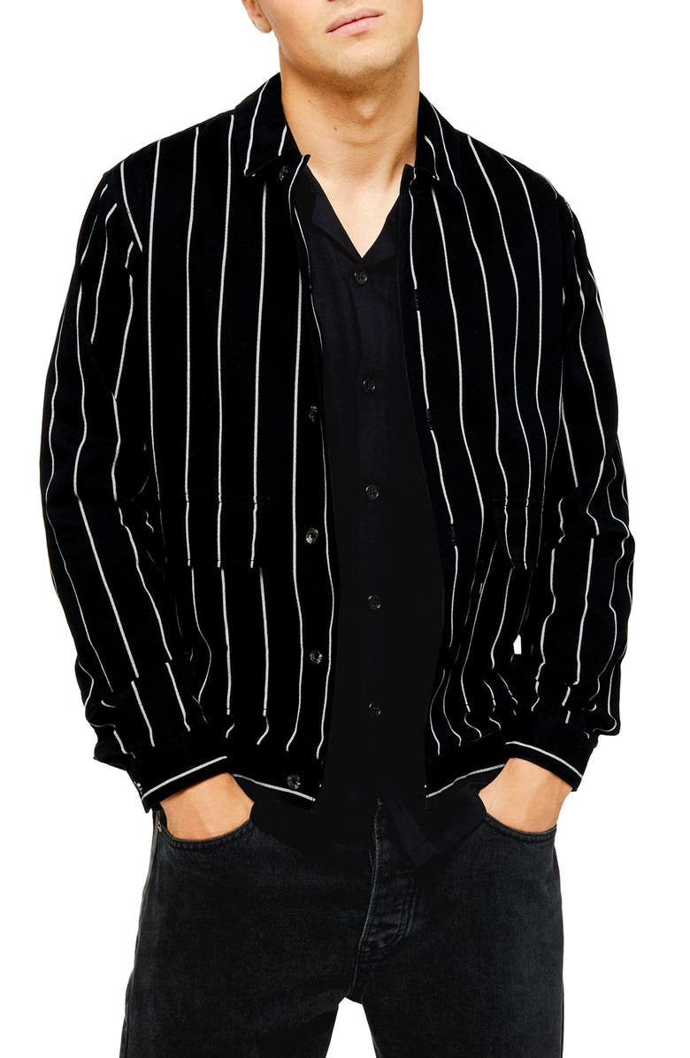 TOPMAN Shirt Jacket, Main, color, BLACK MULTI