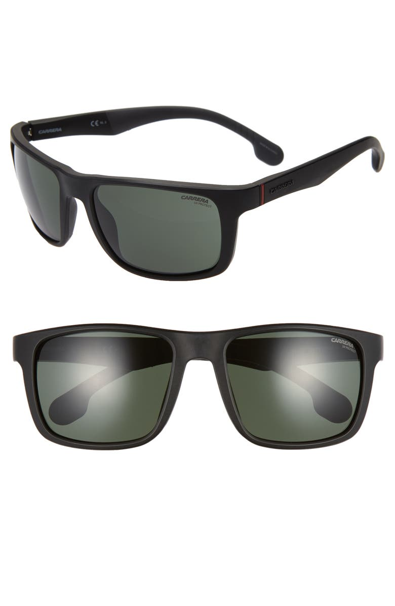 CARRERA EYEWEAR 57mm Wrap Sunglasses, Main, color, MATTE BLACK