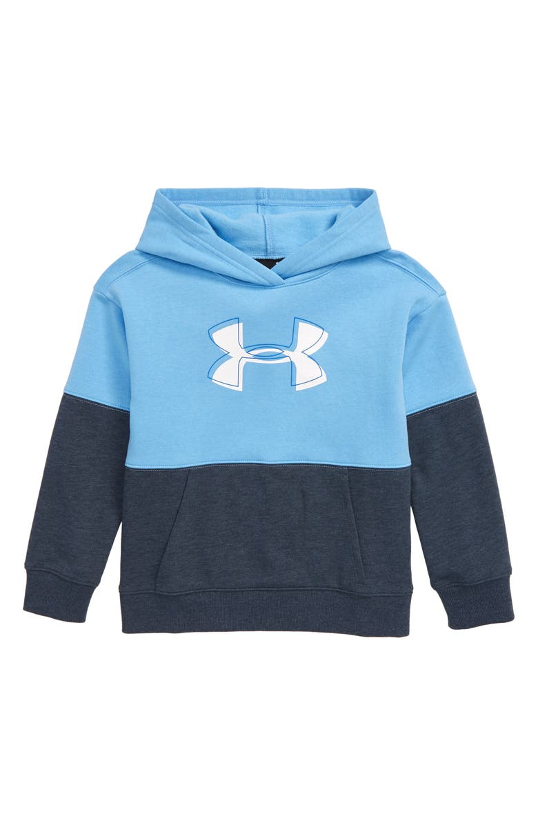 UNDER ARMOUR Rival Colorblock Hoodie, Main, color, CAROLINA BLUE