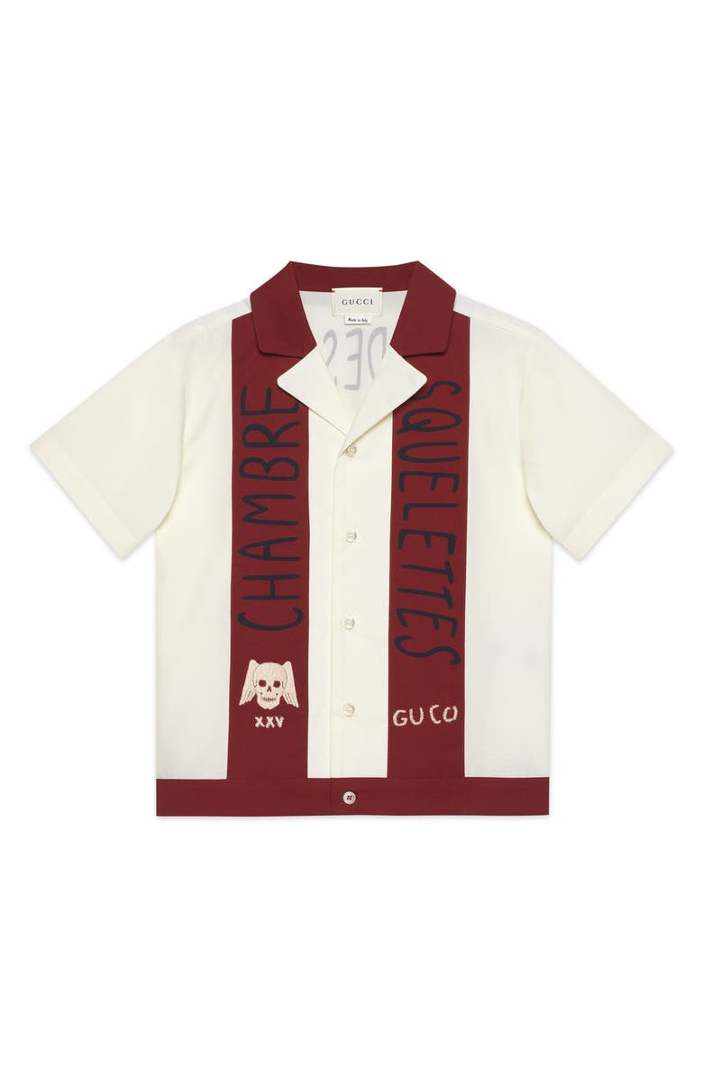 GUCCI Chambre des Squelettes Button-Up Shirt, Main, color, SOFT WHITE