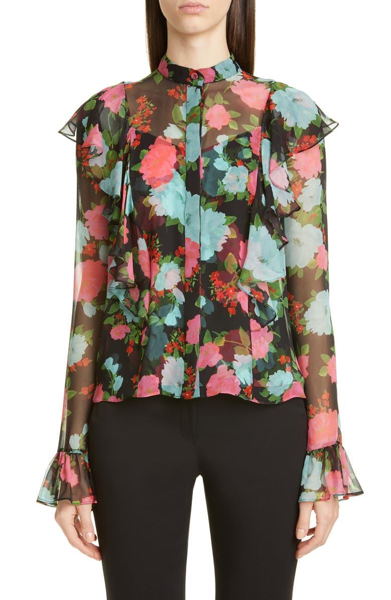 ERDEM Ruffle Floral Print Silk Voile Blouse, Main, color, BLACK/ MULTI