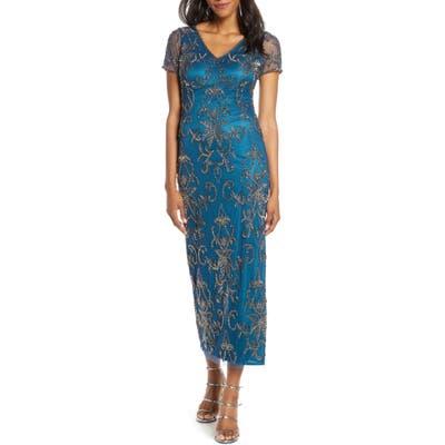 Pisarro Nights V-Neck Beaded Mesh Column Gown, Blue