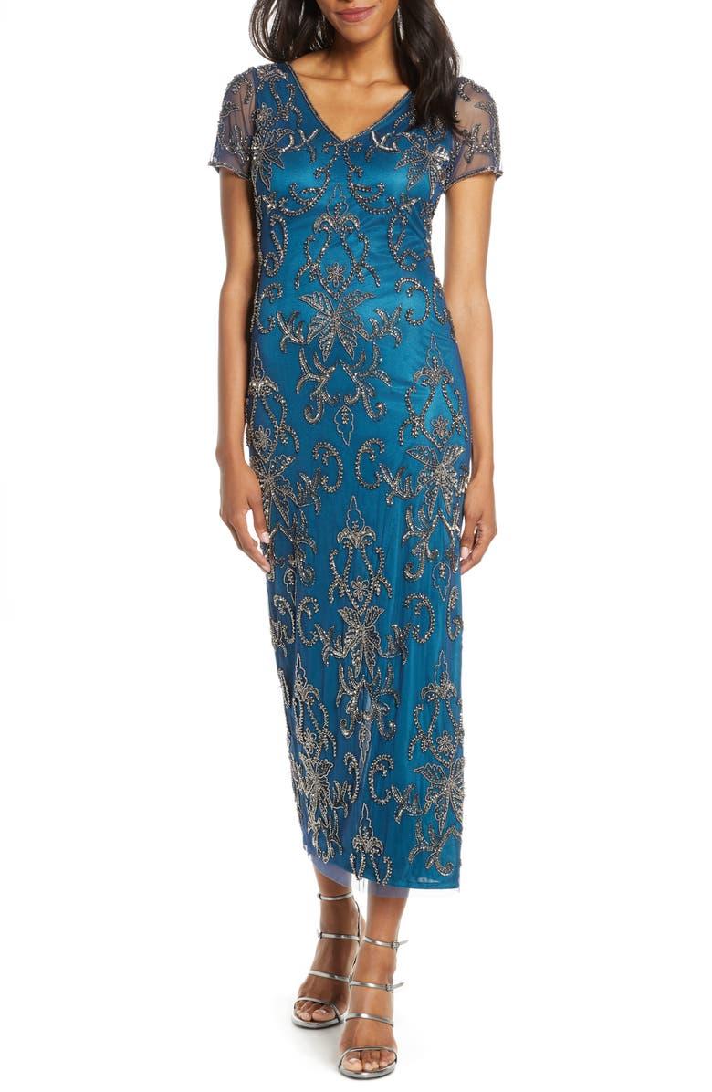 PISARRO NIGHTS V-Neck Beaded Mesh Column Gown, Main, color, COBALT