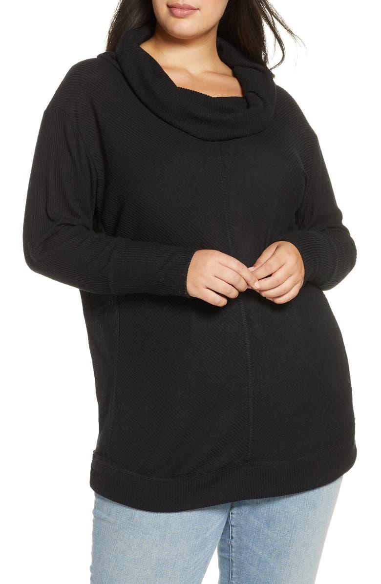 CASLON<SUP>®</SUP> Cowl Neck Long Sleeve Rib Tunic Top, Main, color, BLACK